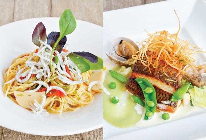 淡路産しらすと青のりのペペロンチーノ/本日のお魚のポワレ 春野菜のクリームソース
