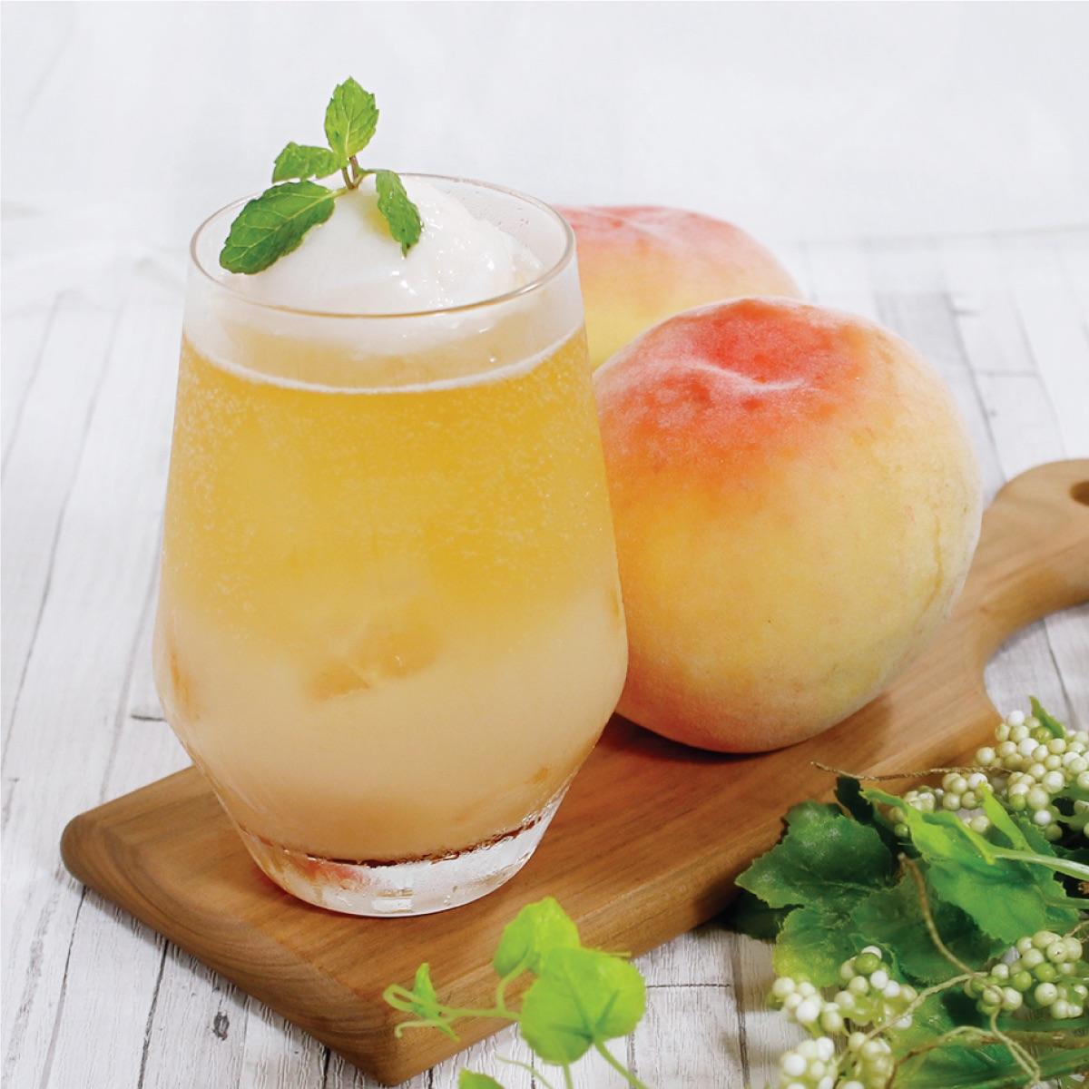 白桃ジェラートのティーソーダ